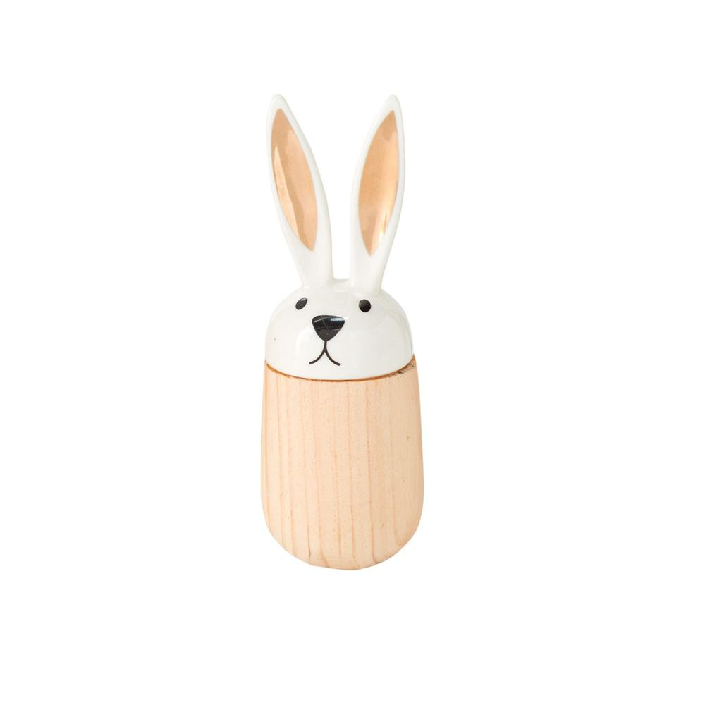 """See Details - Hop-A-Long Bunny Figurine (Size:1.75""""x 5.25"""", Color:White)"""