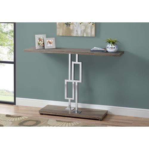 """Gallery - ACCENT TABLE - 48""""L / DARK TAUPE / CHROME METAL"""