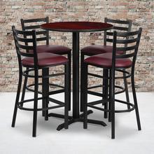 Product Image - 30'' Round Mahogany Laminate Table Set with X-Base and 4 Ladder Back Metal Barstools - Burgundy Vinyl Seat