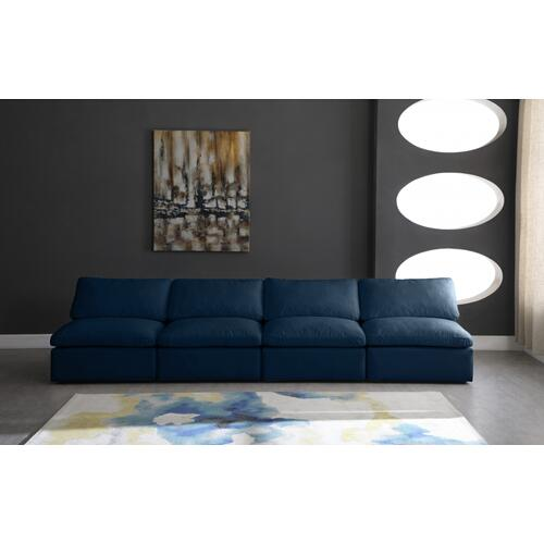 "Plush Velvet Standard Cloud Modular Down Filled Overstuffed 140"" Armless Sofa - 140"" W x 35"" D x 32"" H"
