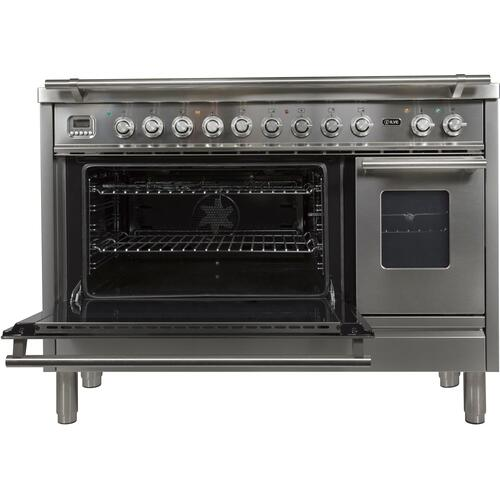 Professional Plus 48 Inch Dual Fuel Natural Gas Freestanding Range in Stainless Steel with Chrome Trim