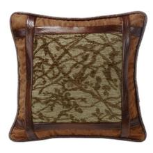 Highland Lodge Framed Tree Pillow W/ Faux Leather
