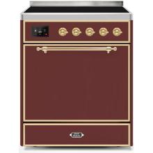 Majestic II 30 Inch Electric Freestanding Range in Burgundy with Brass Trim