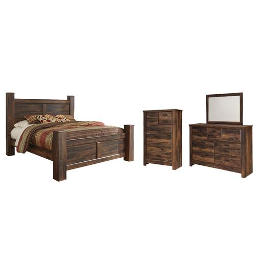 King Poster Bed With Mirrored Dresser and Chest