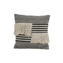 6816512 - Pillow 50x50 cm YANKOY black-white stripes print+fringes