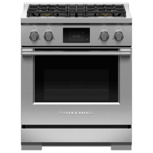 "Fisher & PaykelDual Fuel Range, 30"", 4 Burners, Self-cleaning, LPG"