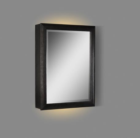 "Charlottesville 20"" LED Medicine Cabinet - right - Vintage Black"