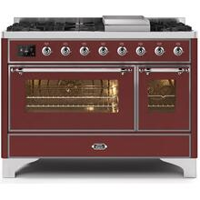 Majestic II 48 Inch Dual Fuel Natural Gas Freestanding Range in Burgundy with Chrome Trim