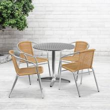 See Details - 31.5'' Round Aluminum Indoor-Outdoor Table Set with 4 Beige Rattan Chairs