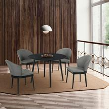 """See Details - Arcadia and Juno 42"""" Round Charcoal and Black Wood 5 Piece Dining Set"""