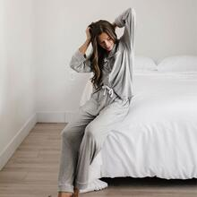 L / Grey / Long Sleeve/Pants Stretch-Knit Bamboo Classic Pajama Set