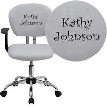Personalized Mid-Back White Mesh Swivel Task Chair with Chrome Base and Arms