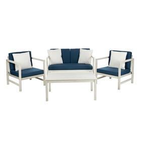 Montez 4 PC Outdoor Set With Accent Pillows - White / Navy / White