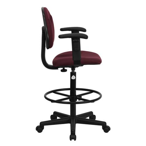 Gallery - Burgundy Fabric Drafting Chair with Adjustable Arms (Cylinders: 22.5''-27''H or 26''-30.5''H)