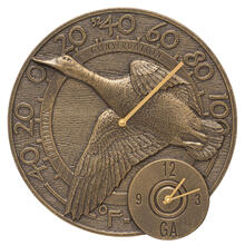 "Mallard Duck 14"" Indoor Outdoor Wall Clock & Thermometer - French Bronze"