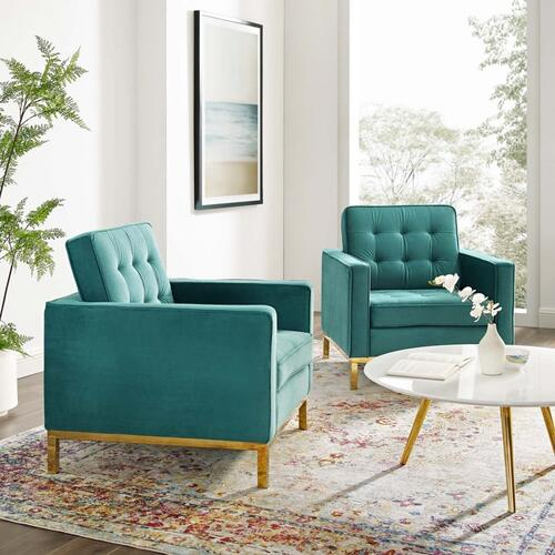 Loft Gold Stainless Steel Leg Performance Velvet Armchair Set of 2 in Gold Teal