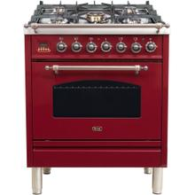 Nostalgie 30 Inch Dual Fuel Liquid Propane Freestanding Range in Burgundy with Bronze Trim