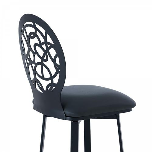 """Armen Living - Lotus Contemporary 30"""" Bar Height Barstool in Matte Black Finish and Grey Faux Leather"""