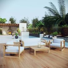 Upland 6 Piece Outdoor Patio Teak Set in Natural White