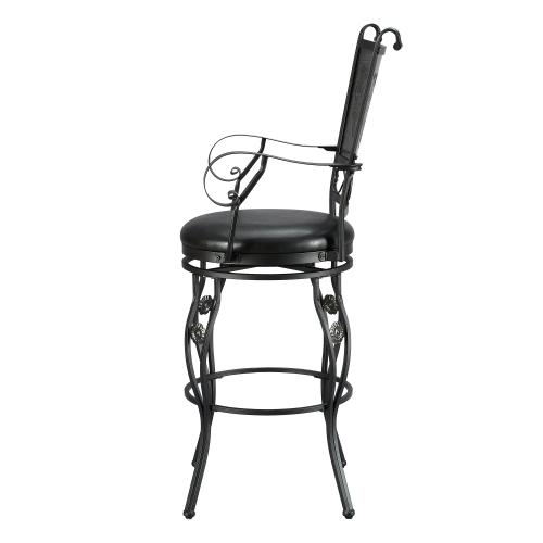 Upholstered Seat and Swivel Barstool, Matte Black and Grey