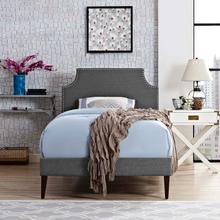 View Product - Corene Twin Fabric Platform Bed with Squared Tapered Legs in Gray