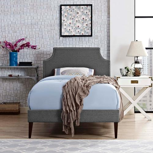 Modway - Corene Twin Fabric Platform Bed with Squared Tapered Legs in Gray