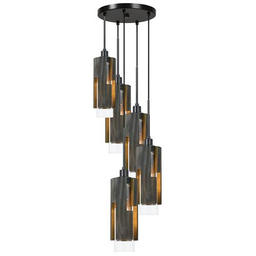 60W X 5 Reggio Wood Pendant Glass Fixture (Edison Bulbs Not included)