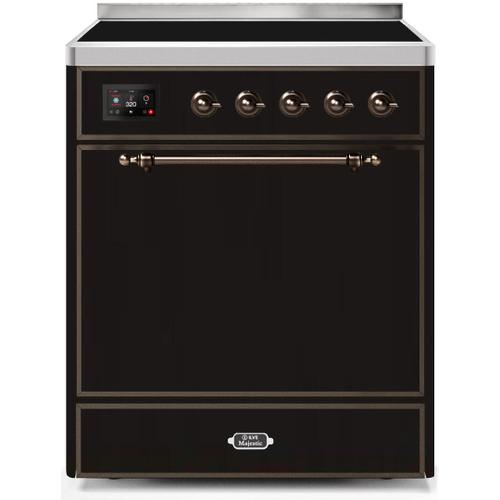Ilve - Majestic II 30 Inch Electric Freestanding Range in Glossy Black with Bronze Trim