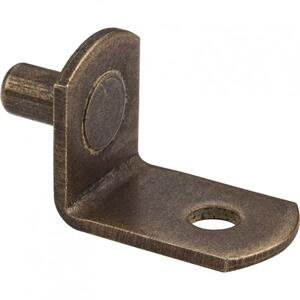 "Antique Brass 5 mm Pin Angled Shelf Support with 3/4"" Arm and 1/8"" Hole Product Image"