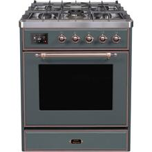 Majestic II 30 Inch Dual Fuel Natural Gas Freestanding Range in Blue Grey with Bronze Trim