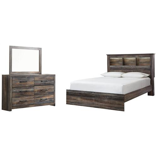 Queen Bookcase Bed With Mirrored Dresser