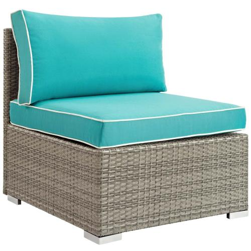 Repose 6 Piece Outdoor Patio Sectional Set in Light Gray Turquoise