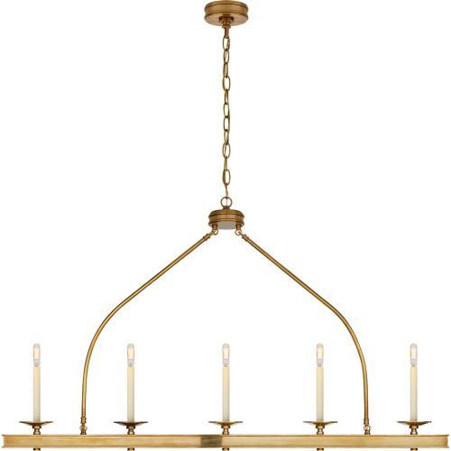 Visual Comfort CHC1605AB E. F. Chapman Launceton 5 Light 52 inch Antique-Burnished Brass Linear Pendant Ceiling Light, Large