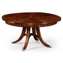 Mahogany circular dining table with self-storing leaves