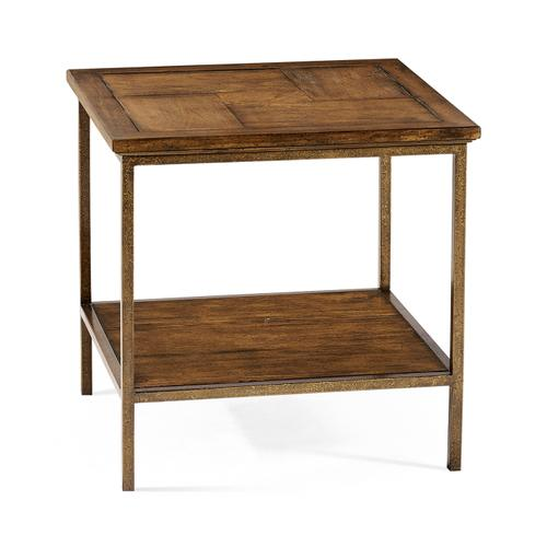 Country Walnut Square End Table with Iron Base
