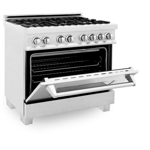 """Zline Kitchen and Bath - ZLINE 36"""" Professional Dual Fuel Range in DuraSnow® Stainless Steel with Color Door Options (RAS-SN-36) [Color: White Matte]"""