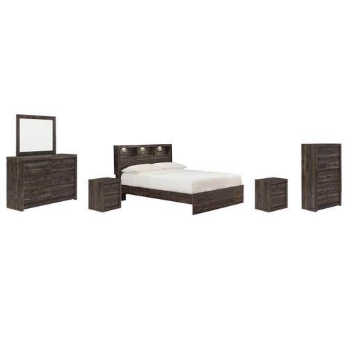 Queen Bookcase Panel Bed With Mirrored Dresser, Chest and 2 Nightstands
