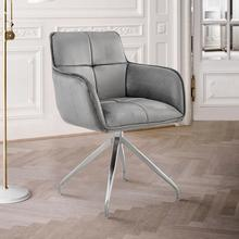View Product - Noah Dining Room Accent Chair in Grey Velvet and Brushed Stainless Steel Finish