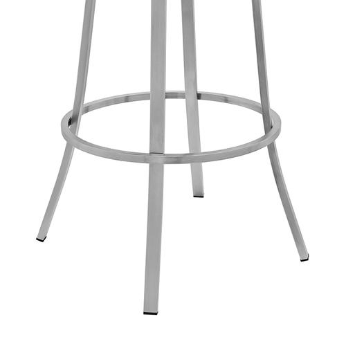 """Valerie 30"""" Bar Height Swivel Barstoolwith Brushed Stainless Steel Finish and White Faux Leather"""