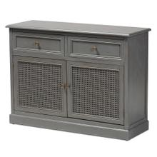 See Details - Baxton Studio Sheldon Modern and Contemporary Vintage Grey Finished Wood and Synthetic Rattan 2-Door Dining Room Sideboard Buffet