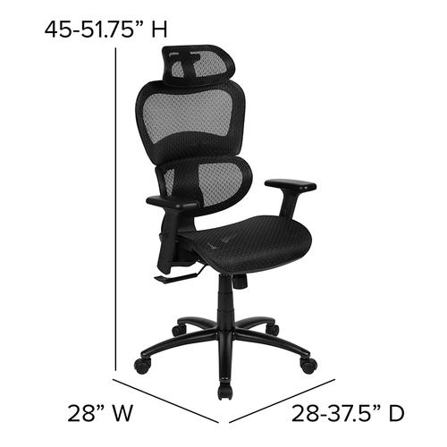 Flash Furniture - Ergonomic Mesh Office Chair with 2-to-1 Synchro-Tilt, Adjustable Headrest, Lumbar Support, and Adjustable Pivot Arms in Black