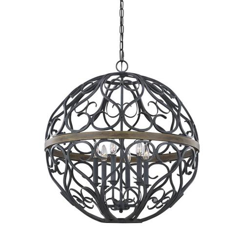 Avila 6 - Light Chandelier Weathered Zinc/Weathered Oak