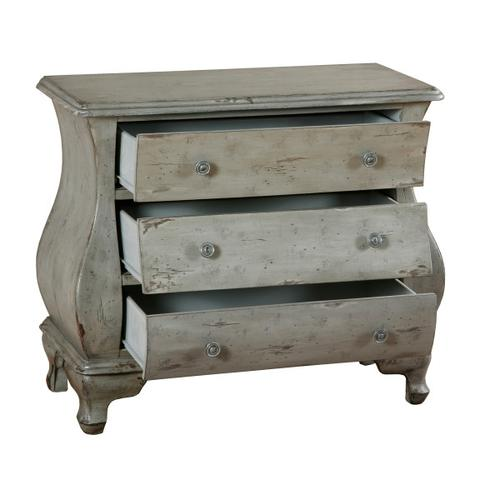 Distressed Three Drawer Bombay Chest in Soft Gray