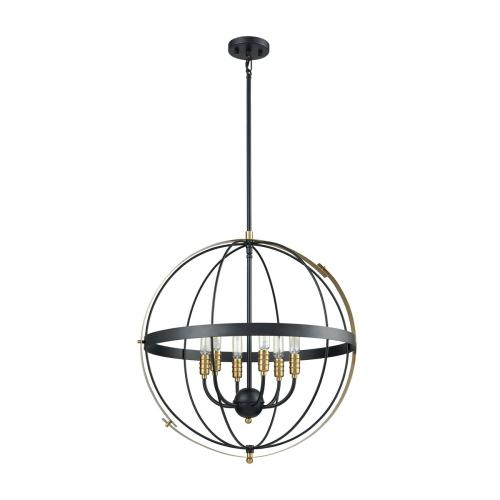 Caldwell 6-Light Chandelier in Matte Black and Satin Brass