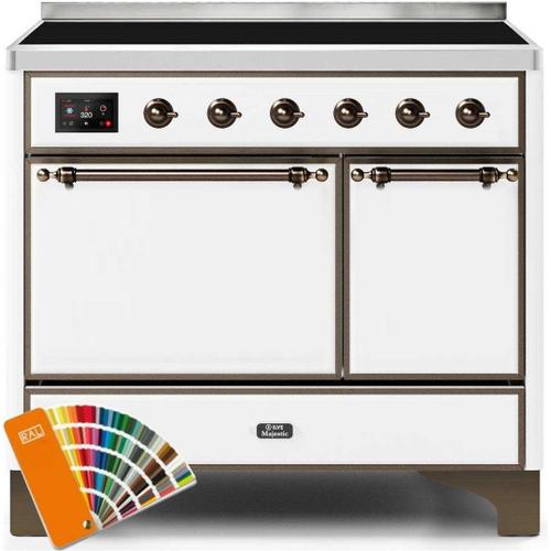 Ilve - Majestic II 40 Inch Electric Freestanding Range in Custom RAL Color with Bronze Trim