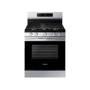 6.0 cu. ft. Smart Freestanding Gas Range with Integrated Griddle in Stainless Steel Product Image