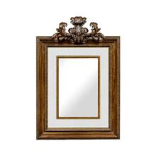 See Details - Large Carved Honey Walnut Mirror, Upholstered in COM by Distributor