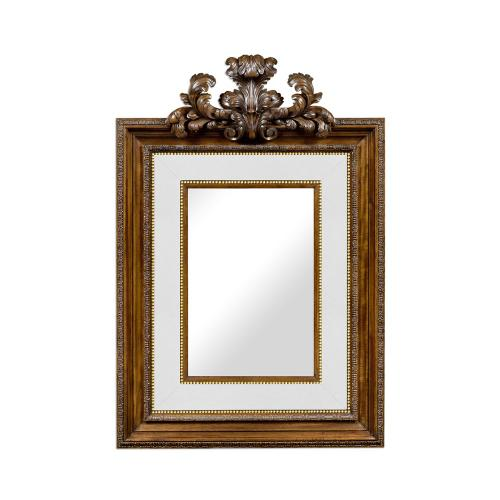 Large Carved Honey Walnut Mirror, Upholstered in COM by Distributor
