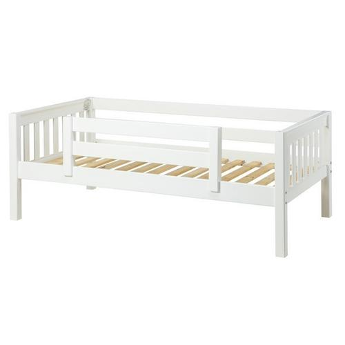 See Details - Daybed w/ Back and Front Safety Rails : Twin : White : Slat