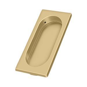 "Flush Pull, Large, 3-7/8"" x 1-5/8"" x 3/8"" - Brushed Brass"